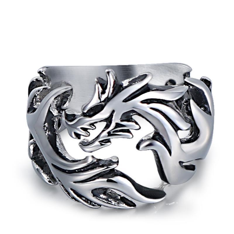 Acero inoxidable de época gótica de plata anillo de los hombres del dragón de vuelo tribal dedo diseño del recorte del punk rock retro joyería del anillo del motorista