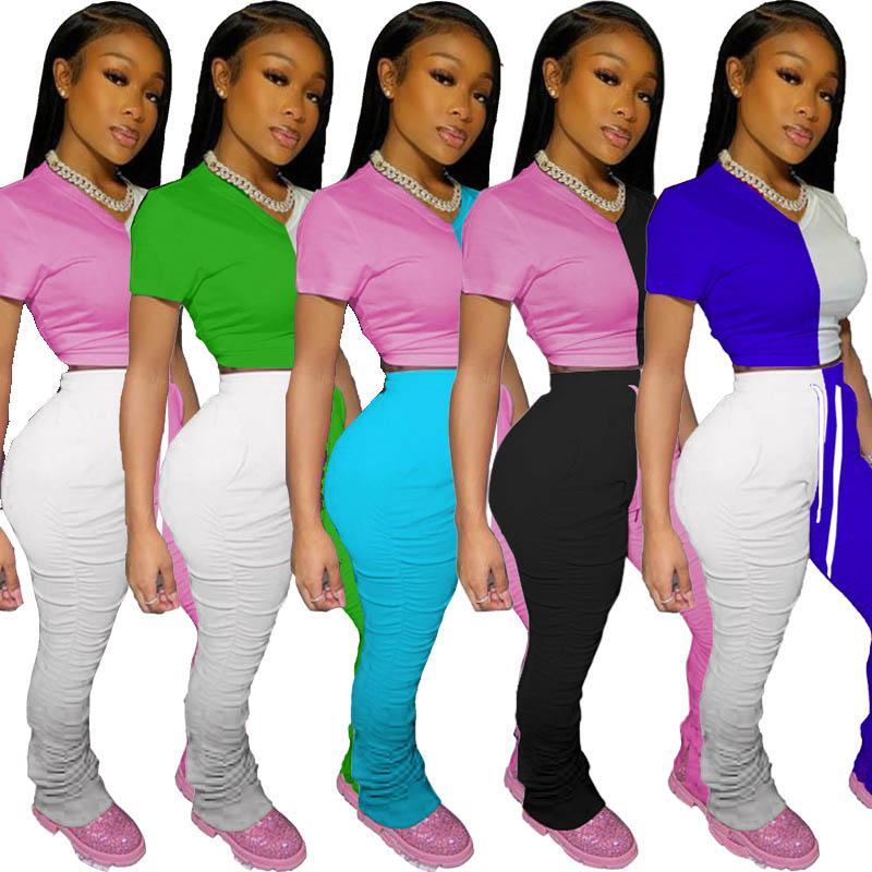 kadınlar 2 iki parçalı eşofman ekin üst t gömlek tayt Sweatpants Flare pantolon kıyafetler setleri büyük beden giysiler bölünmüş pilili patchwork