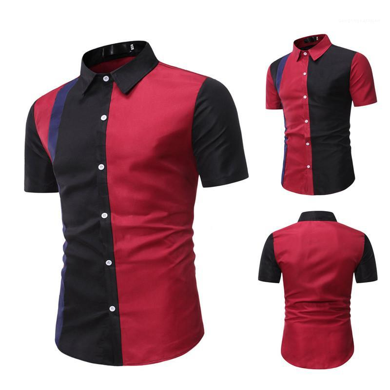 قميص أحمر أسود عصري سليم تيز زر البلوز مان الملابس الصيفية مصمم رجالي المرقعة بولو قصيرة الأكمام الياقة حامل