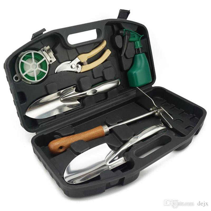 Freeshipping 7 unids / set jardín mano herramienta conjunto de herramientas de jardín flores herramientas de jardinería jardín mango antideslizante hogar casero multi-func