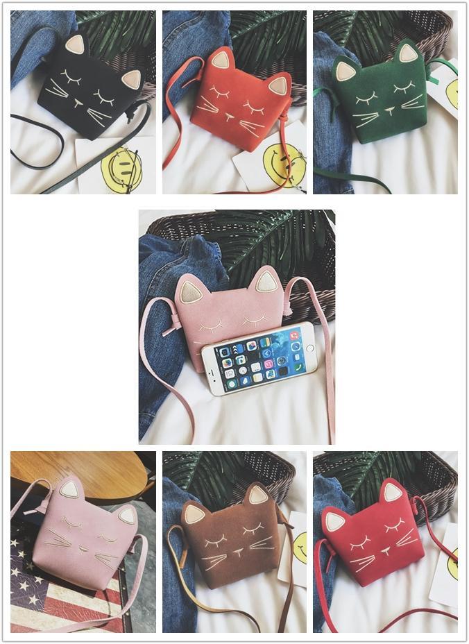 6 ألوان جميلة الأميرة حقيبة الفتيات البسيطة الكرتون القط اكسسوارات الطفل طفلة crossbody حقيبة أطفال محفظة