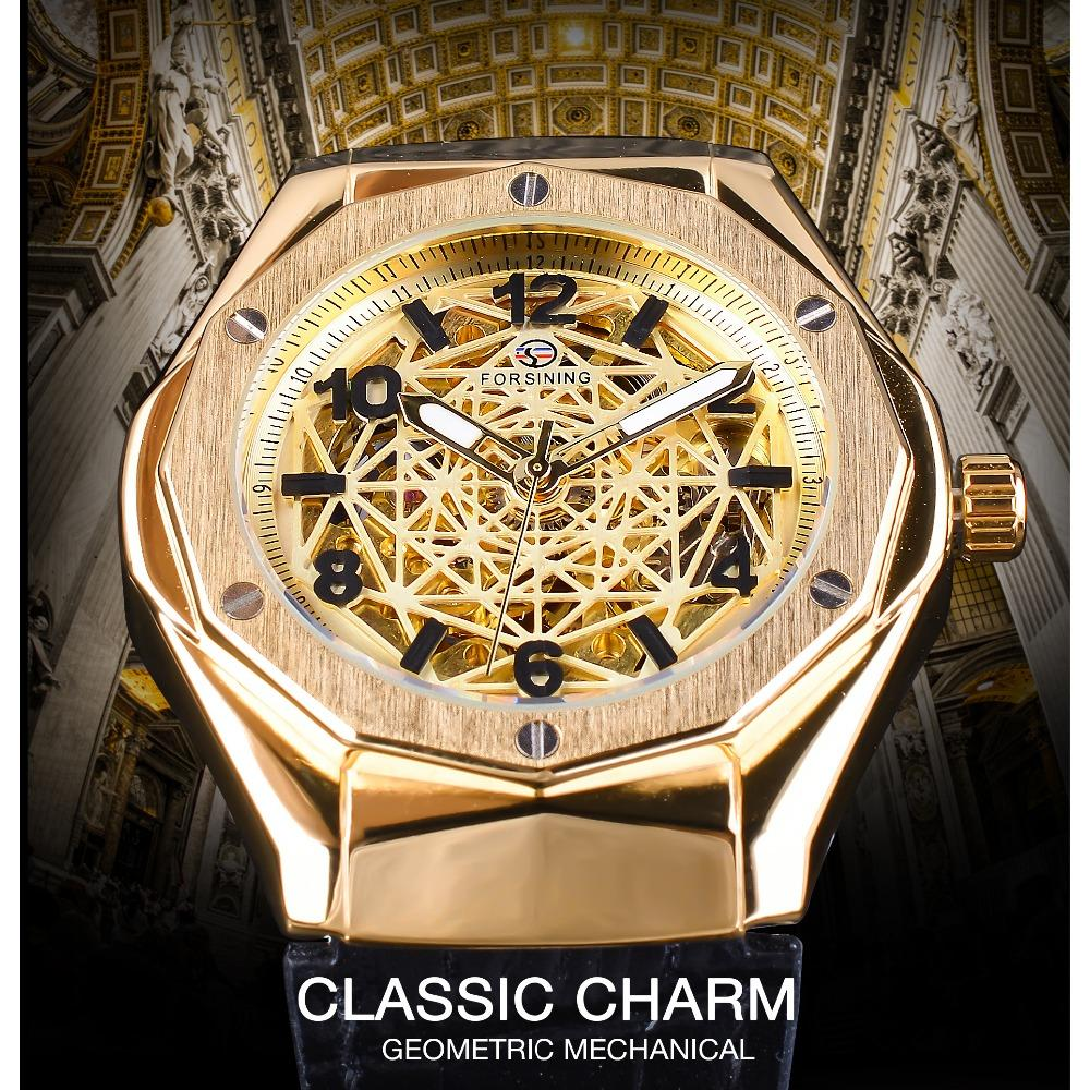Forsining 2018 Forma de oro Esqueleto 3D Spider Web Dial Hombres Relojes automáticos Luminoso Manos Negro Cuero genuino