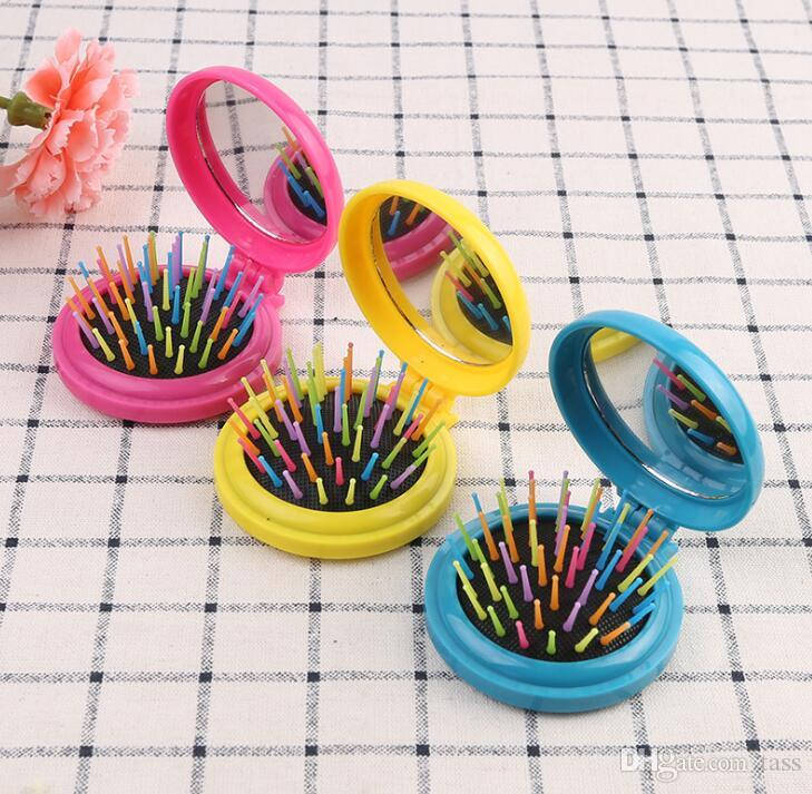 Girls Portable Mini Folding Massage Comb Airbag Massage Round Travel Hair brush With Mirror Cute Anti-static Rainbow Comb