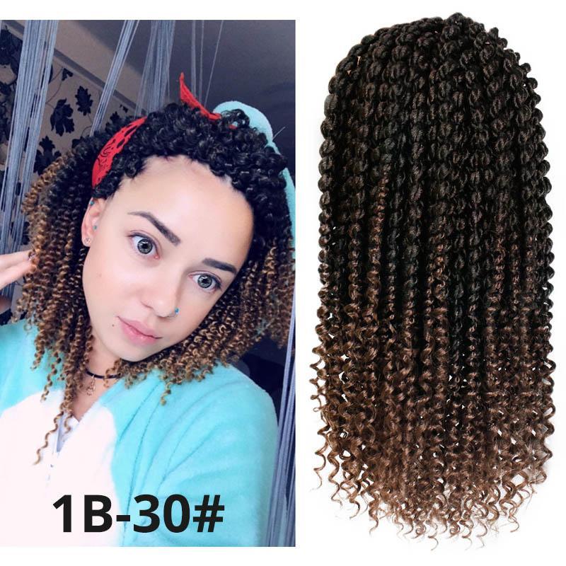 Nouveau Style 14 pouce Printemps Twist Cheveux Ombre Couleurs Synthétiques Extensions de Cheveux Sénégalais Marley Tresses Crochet Cheveux Curl Fin pour Les Femmes