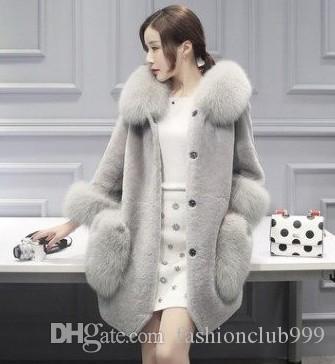 O Envio gratuito de Nova Chegada Venda Quente Especial de Moda Feminina Versão Coreana Ovelhas de Inverno Tosquia de Raposa Imitação de Cabelo High-end de Algodão Casaco