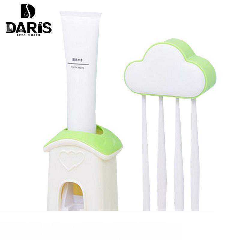 Suporte Sdarisb Distribuidor Automático dentífrico 4 porta-escovas Set Wall Mount Stands Escova Família Define Nuvens criativa dos desenhos animados
