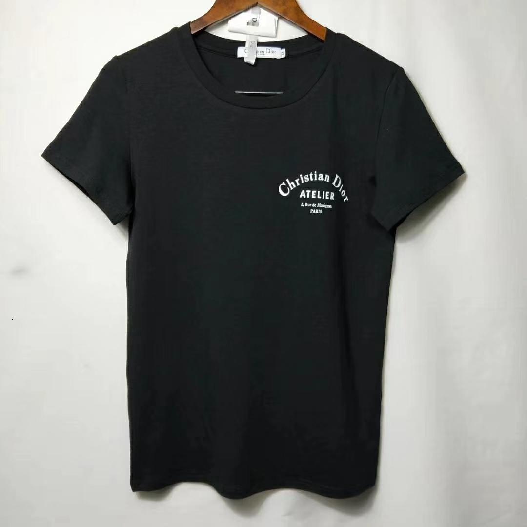 2020 благородный и элегантный комфорт Summer Edition с коротким рукавом футболка Женская буква дна