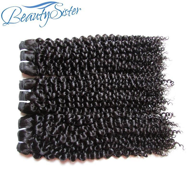 beautysister rohes reines Haar nicht verarbeitete menschliche brasilianische verworrene lockige remy bündelt lot 300g Menschenhaar spinnt 3Stücke natürliche Farbe 100g / pcs