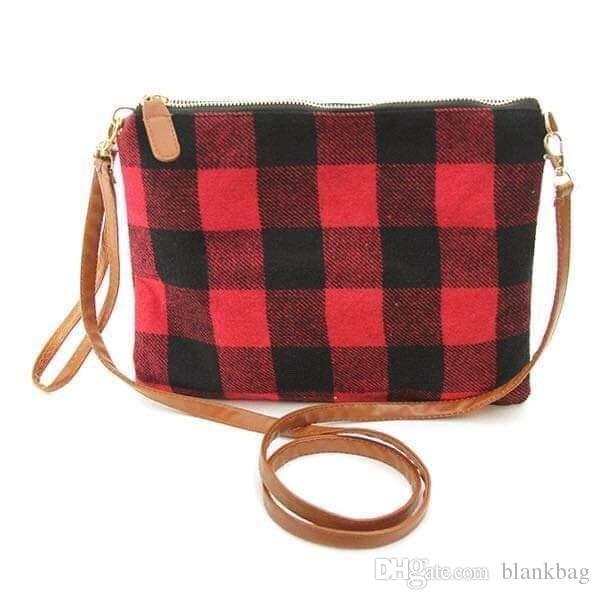 New chaud Femmes Red Buffalo Plaid Crossbody Purse poche embrayage carreaux fermeture à glissière sac cosmétique sac de sangle d'épaule noir blanc