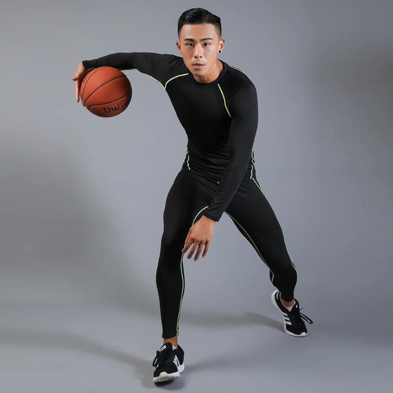체육관 의류 스포츠 착용 압축 훈련 바지 남자 휘트니스 세트 타이츠 농구 자켓 레깅스 추방