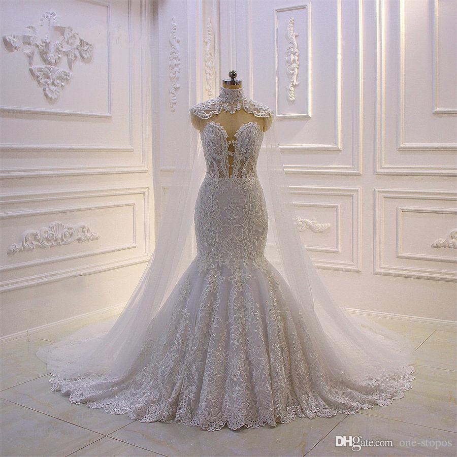 Lace Appliqued Vintage Vestidos de casamento com Sheer destacáveis Xailes Luxo Voltar Plus Size Arábia árabe Dubai Vestido de Noiva