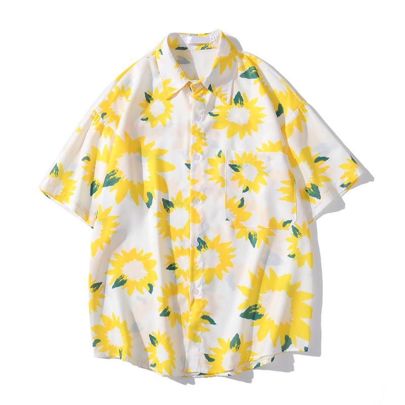 عباد الشمس قميص هاواي الرجال 2020 الصيف بدوره إلى أسفل الياقة القميص للرجال ذكر الأعلى 3colors الشحن