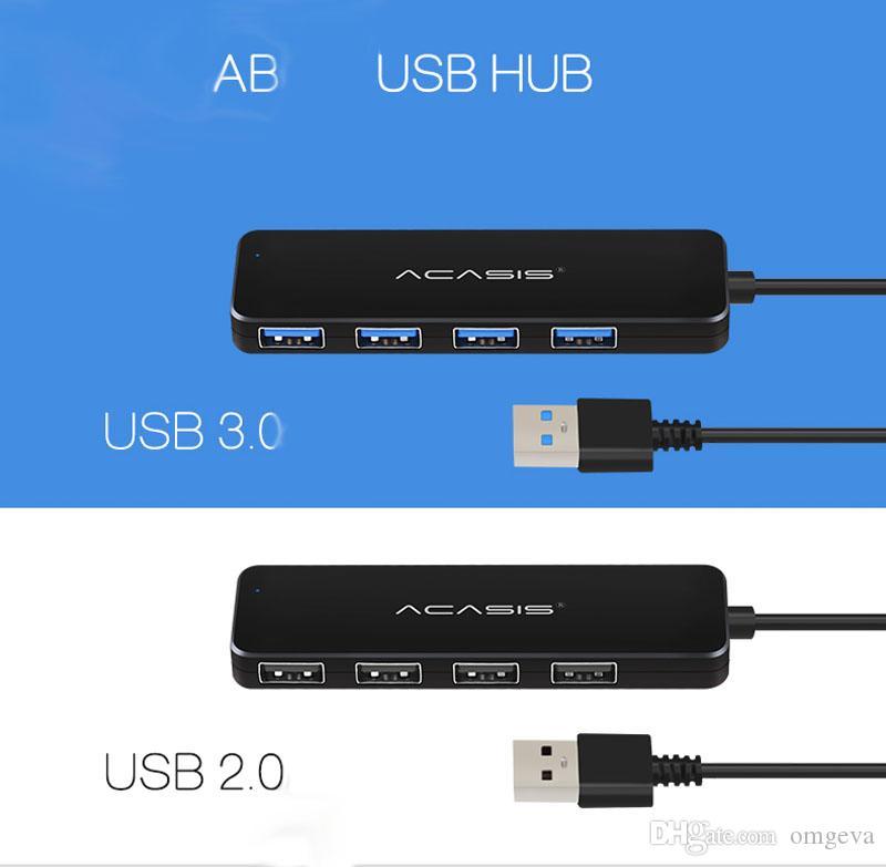 Acasis alta velocidad USB 2.0 3.0 compacto y portátil USB HUB Soporte Descargas simultaneas decice Hub para PC portátil 4 puertos USB Adaptador de Extensión CUBOS Splitter