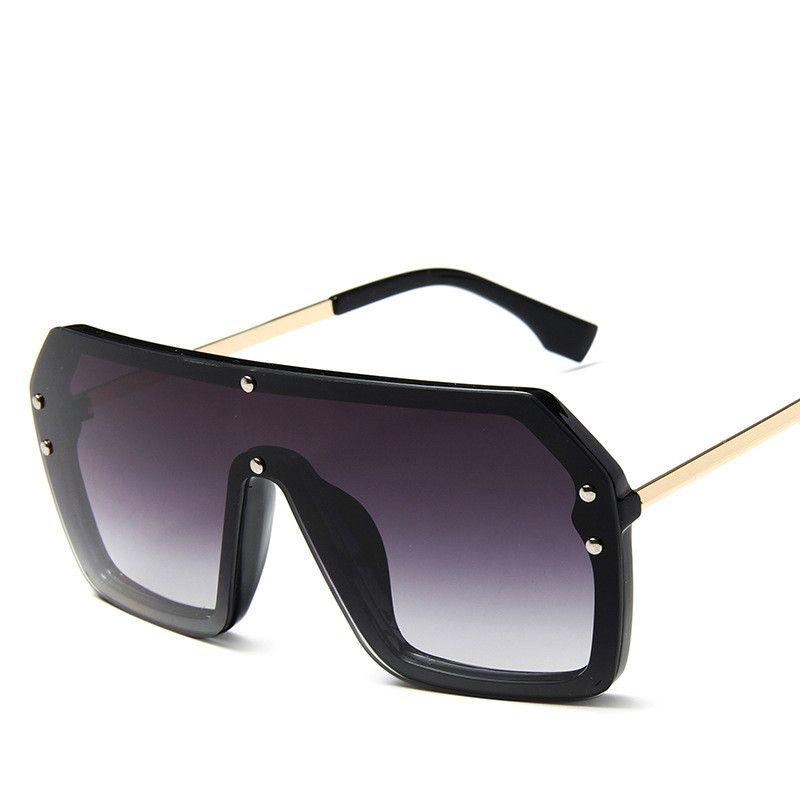 2019 جديد قطعة واحدة ساحة نظارات شمسية بنات شخصية ملونة موضة النظارات الرجال شعبية شقة الأعلى حملق الظل مرآة uv400