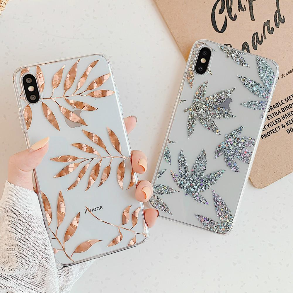 Rose Gold Plating Art Leaf Cases for Iphone XR X XS Max 8 7 Plus 11 11Pro Max Shining Leaves Plant Tree Phone Case Clear Back Cover