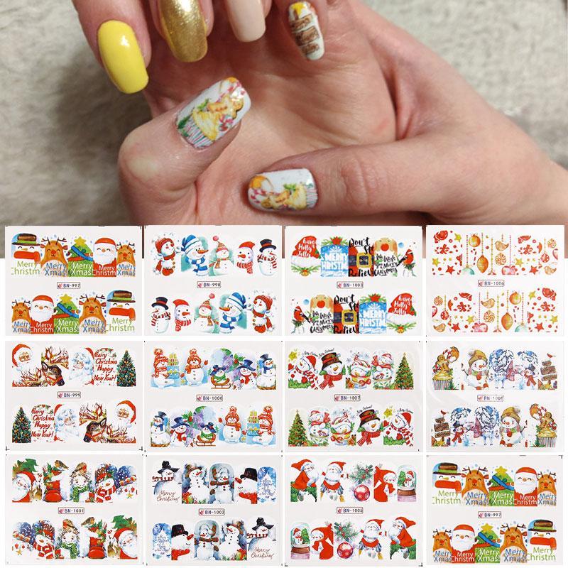 Tırnak Sanat Dekorasyon Su Sticker için 3 Sac Noel Desen Noel Baba Manikür Slider Tırnak Çıkartmaları Polonya Aracı Setleri