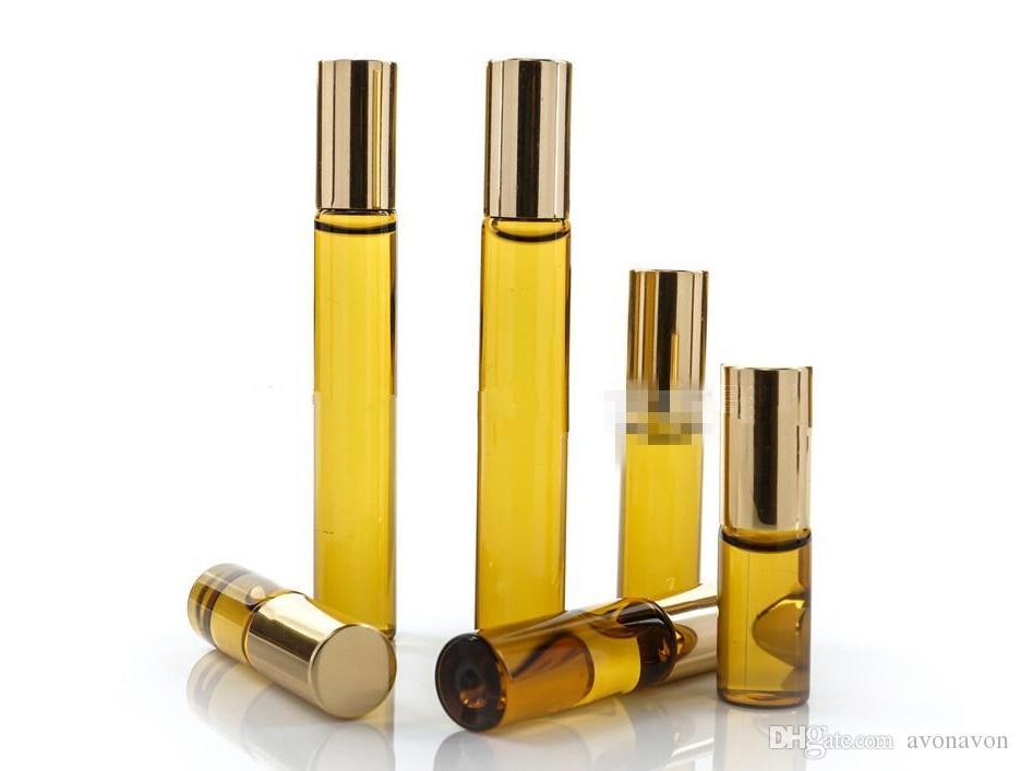 10ml 5ml 3ml Mini Rulo On Cam şişe parfüm PARFÜM Amber Brown KALIN CAM ŞİŞELER TEMEL YAĞ şişe Çelik Metal Silindir top