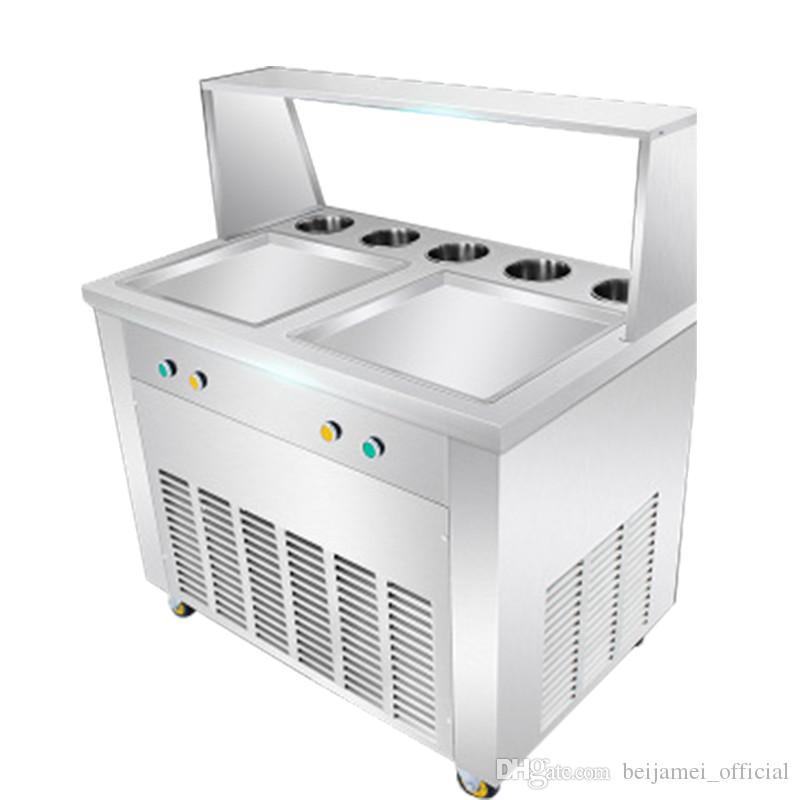 BEIJAMEI Tailandia freír máquina de helados blandos 110V 220V Tailandia Máquina de helados fritos con 5 barriles