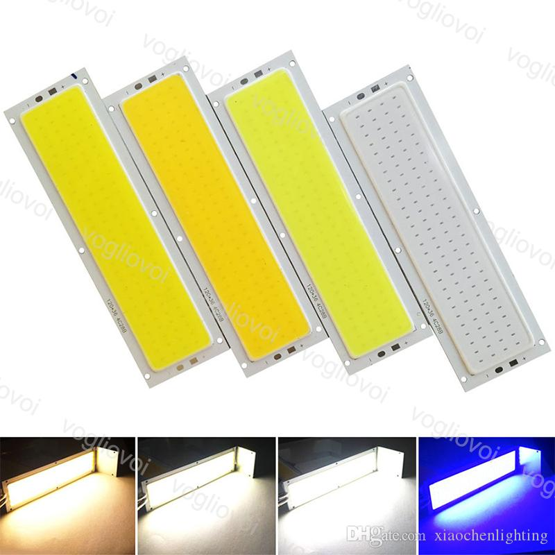 Perles légères 10W 120x36mm COB Strip Ampoule 12V Lampe à panneaux chauds Naturels Naturels Blanc Blanc Blanc Bleu Couleur LED Éclairage pour DIY EUB