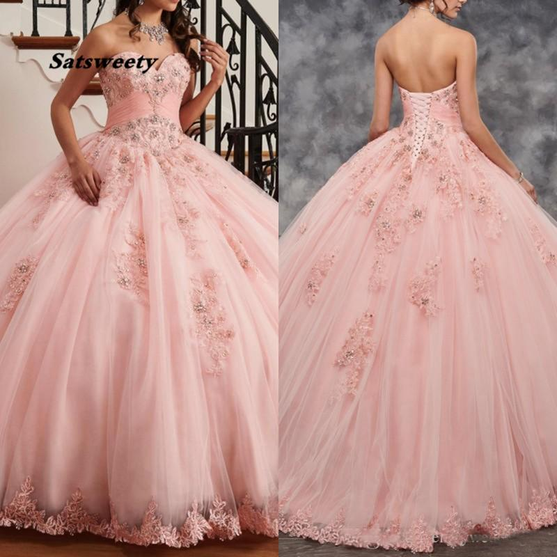Lovely Pink Quinceanera Dress Ball Gown Sweetheart Lace with Beadings Party Dresses for Girls 15 Years