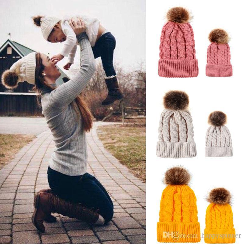 Giro otoño e invierno bola casquillo que hace punto Mujer imitación padres e hijos Cap lana bola de pelo de la trenza caliente