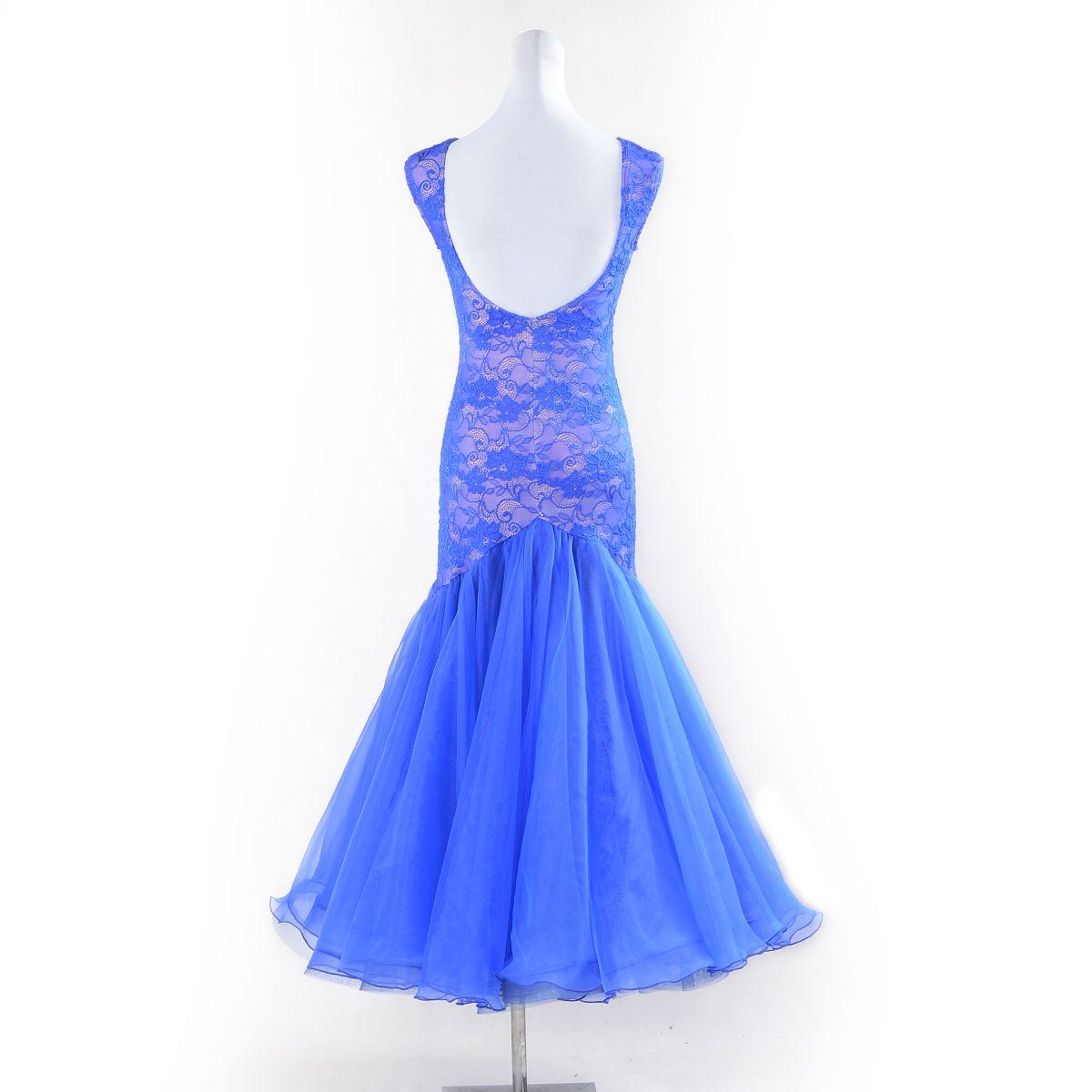 НОВЫЙ синий стандарт бальное платье женщина бальные танцы конкурс платья сексуальные кружева без рукавов вальс фокстрот румба платье современного танца
