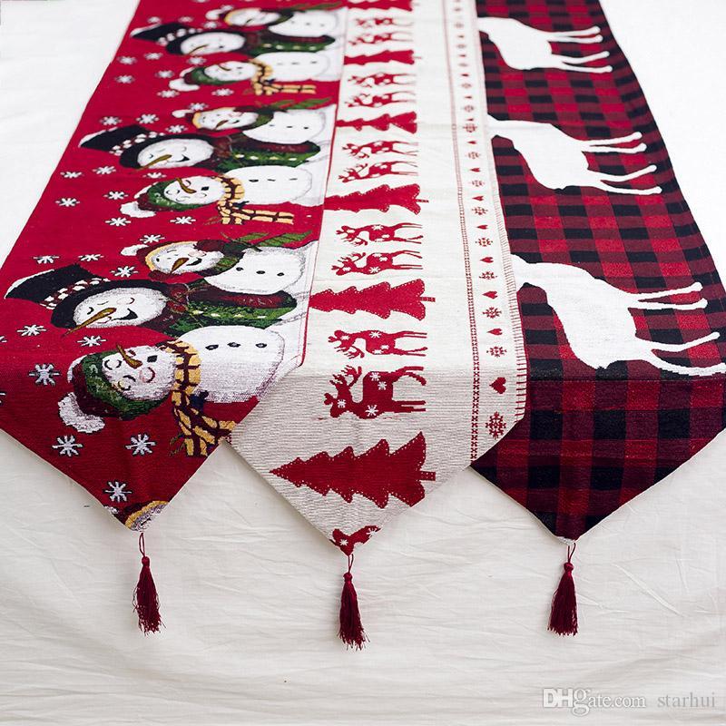 180 * 35CM زينة عيد الميلاد مفرش القطن الكتان التطريز الجدول عيد الميلاد العلم حفلة عيد الميلاد الجدول سطح المكتب عيد الميلاد لوازم WX9-1712