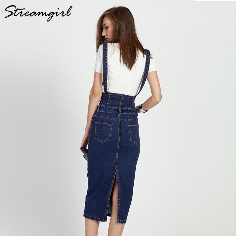 Botón Streamgirl largo Denim falda con las correas de las mujeres de tamaño Jeans Faldas Plus Long cintura alta falda del lápiz del dril de algodón para mujer Faldas CX200708