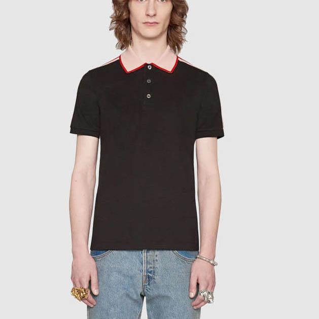 op vb camisa polo T-shirt High street tarja moda impressão polo camisetas cobra abelha florais homens bordados polos Itália