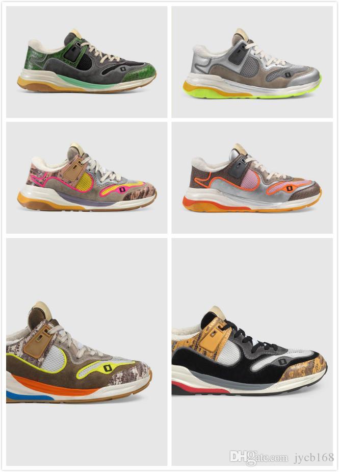 2019 Paris Diseñador Ultrapace las zapatillas de deporte de la tela con reflexivo formadores de corte bajo de los hombres de la vendimia en Ante HQK30 de lujo 44
