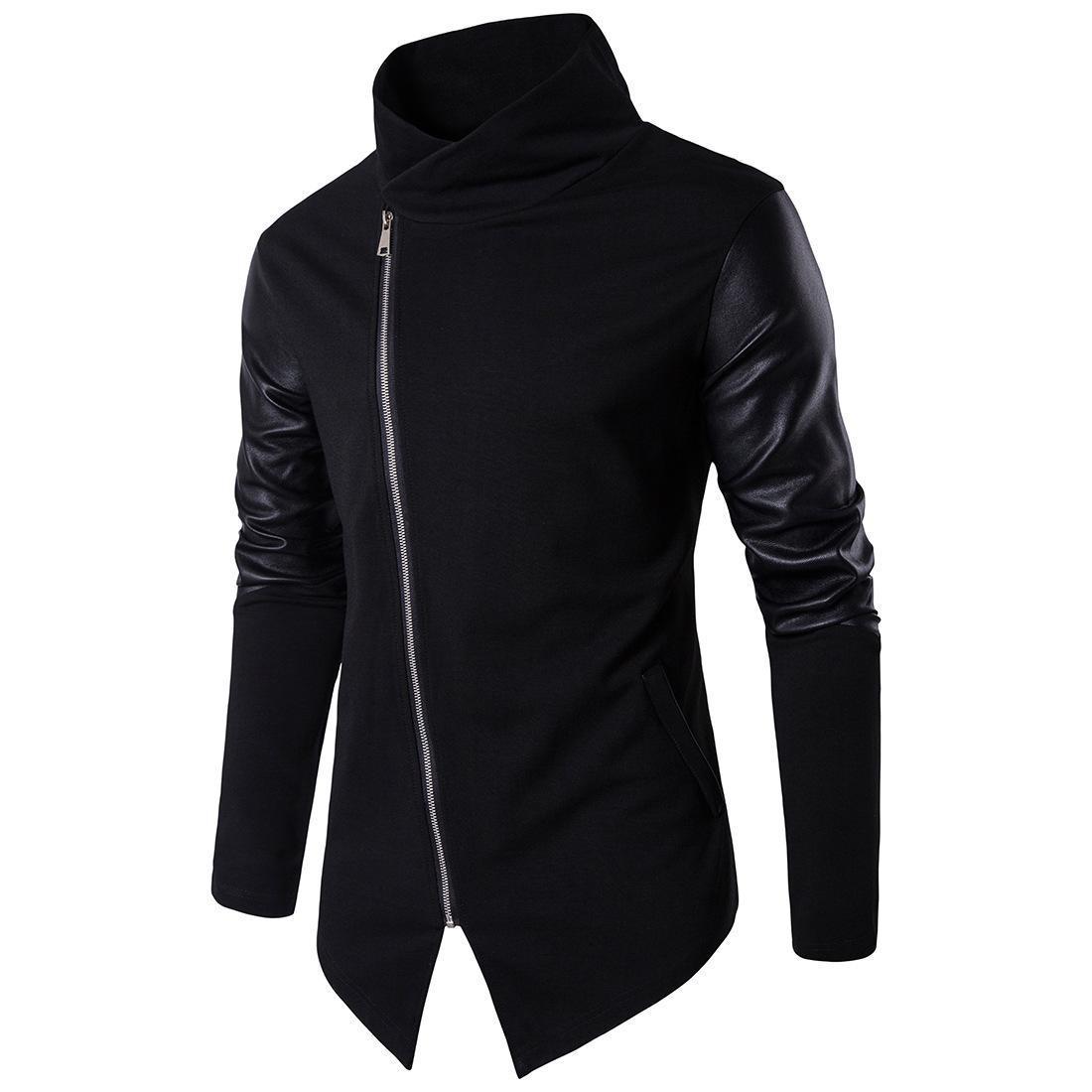 nouveau stand col Sweat à capuche pur coton Livraison gratuite sweat à capuche tricoté cuir patchwork tricot sweat shirt couleur noire