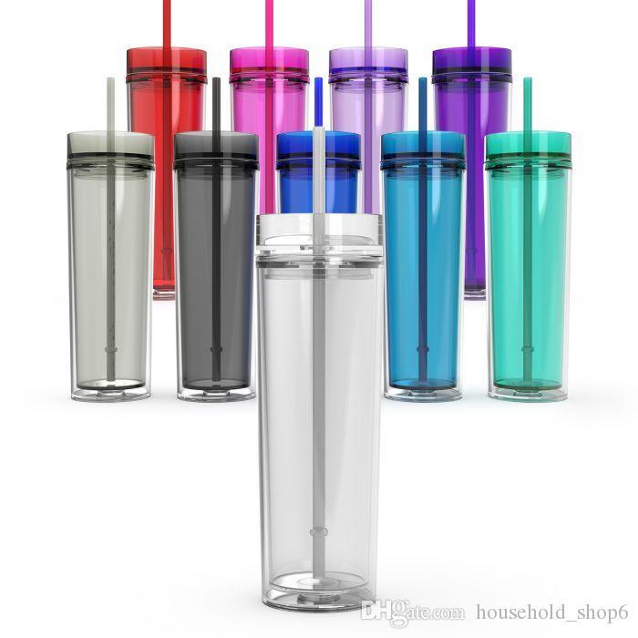 Bicchierino Acrilico Skinny da 16 once Bicchierino Acustico 16 oz con coperchio e cannuccia da 480ml Bicchierino da bottiglia dritto in plastica trasparente Sippy Cup BPA Free