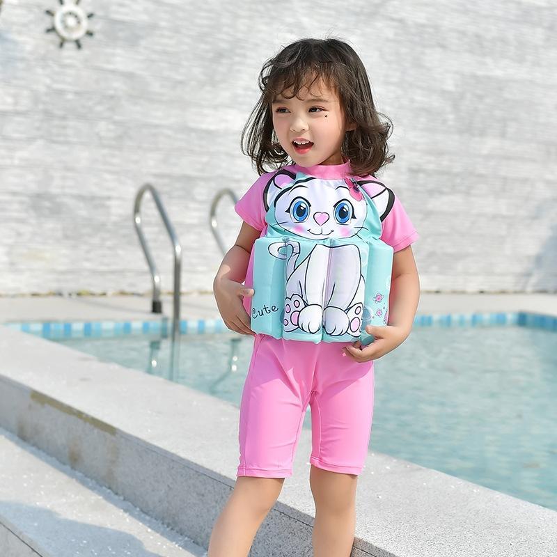 la natation apprentissage infantile d'une seule pièce de maillot de bain flottabilité pour enfants fille de fille dessin animé bain chaud printemps flottaison maillot de bain bébé