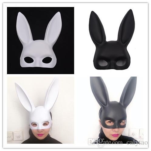 عيد الفصح الأرنب قناع ملهى ليلي تظهر الدعائم هالوين قناع الرقص أرنب نصف الوجه تنكر قناع أسود أبيض اثنين اللون