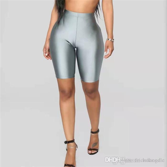 A vita alta colore fluorescente delle donne Solid Skinny sexy shorts Slim in bicicletta i pantaloni di scarsità di sport femminile abbigliamento