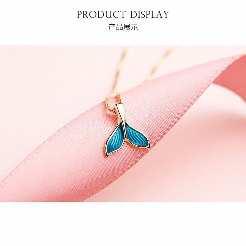 925 Mermaid regalo collana Fish-Tail Pendant Sterling Silver girocollo Womens semplice Lontano compleanno collana donna regalo