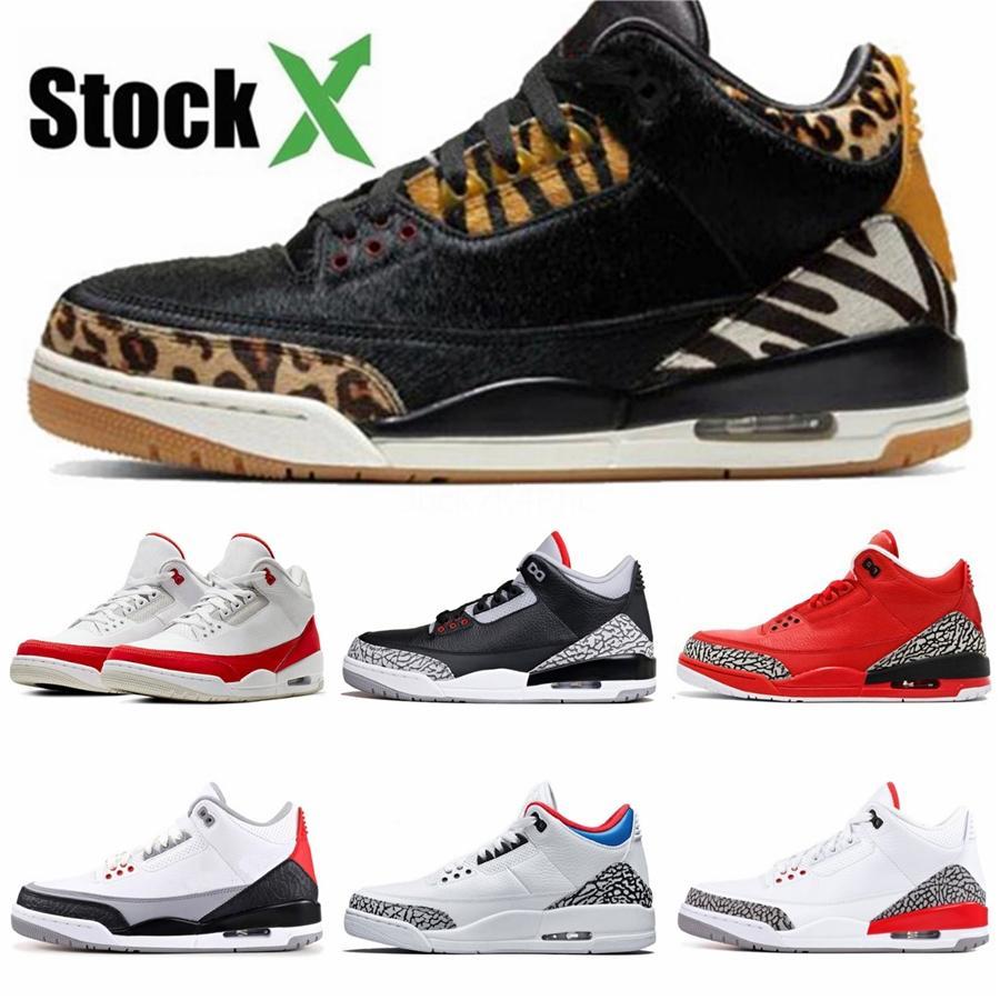 Kw Noir Gris 3S Hommes Chaussures de basket-ball Travis Scotts 3 Raptors de chaussures Bred Neon Fiba Rétro tatouage maille entraîneurs des hommes de sport Chaussures de sport 40-47 # 517