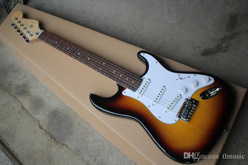 خاص بيع التبغ الغيتار الكهربائي الغيتار مع الأكمام روزوود ، pickguard الأبيض ، 3 أسلاك ، توفير مخصصة.