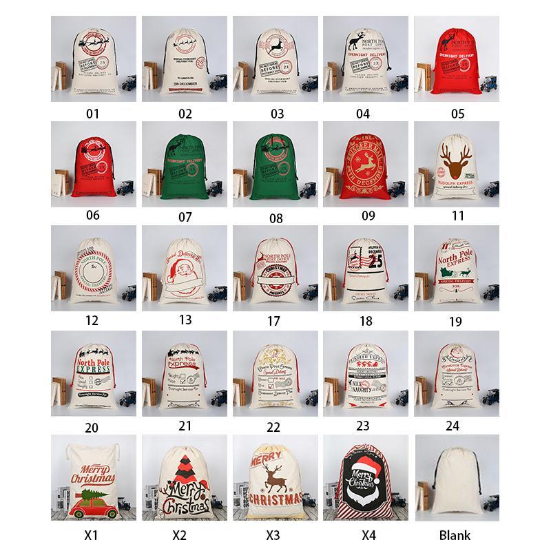 50 개 * 70cm 크리스마스 선물 가방 대형 유기 헤비 캔버스 가방 산타 자루 졸라 매는 끈 부대와 순록 산타 클로스 자루 아이 가방