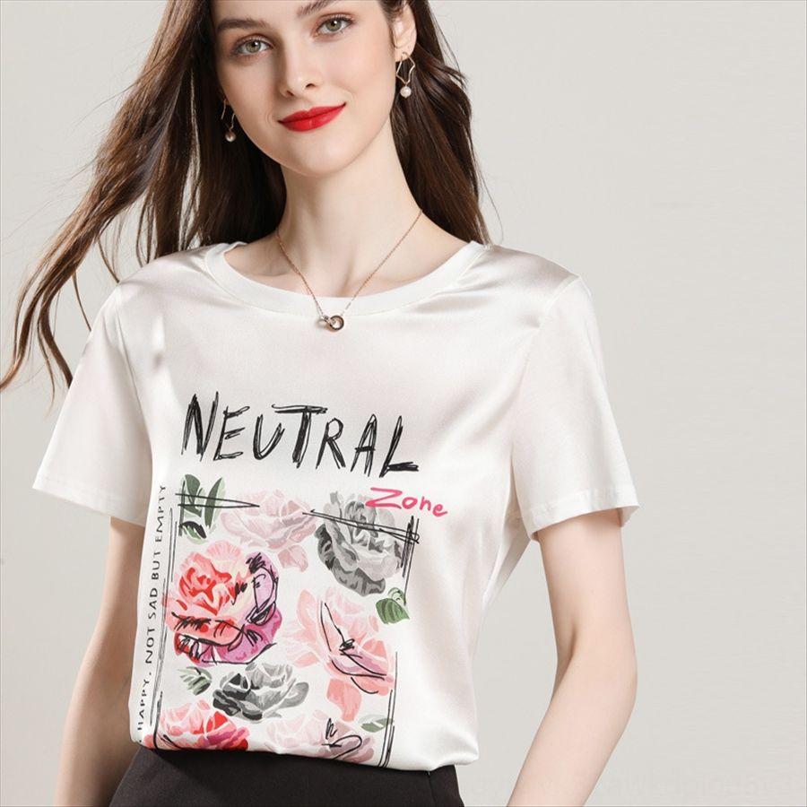 Seda de manga corta hembra de la camiseta cuello redondo camiseta chaleco de la impresión chaleco de la tapa de la media manga