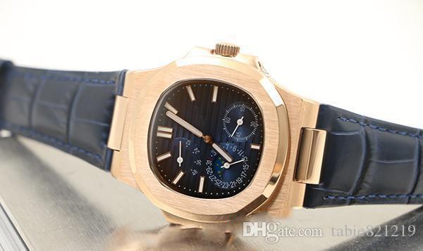 tabie Hot seller watches Limited Edition Nautilus автоматический механический синий циферблат Кожаный ремешок прозрачная задняя крышка часы для мужчин бесплатная доставка