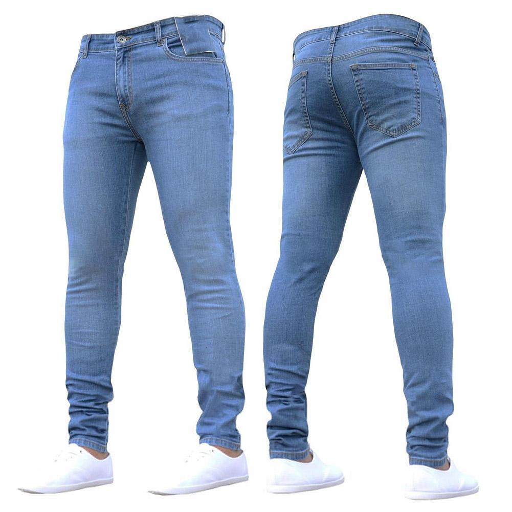 Homens Jeans New Men Moda Casual Jeans Fino Hetero Feet High Elasticidade da cintura Long Calças S-3XL