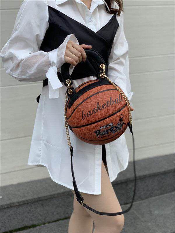 Баскетбол Форма сумки круглой формы сумка мода сумка Цепь Crossbody сумка