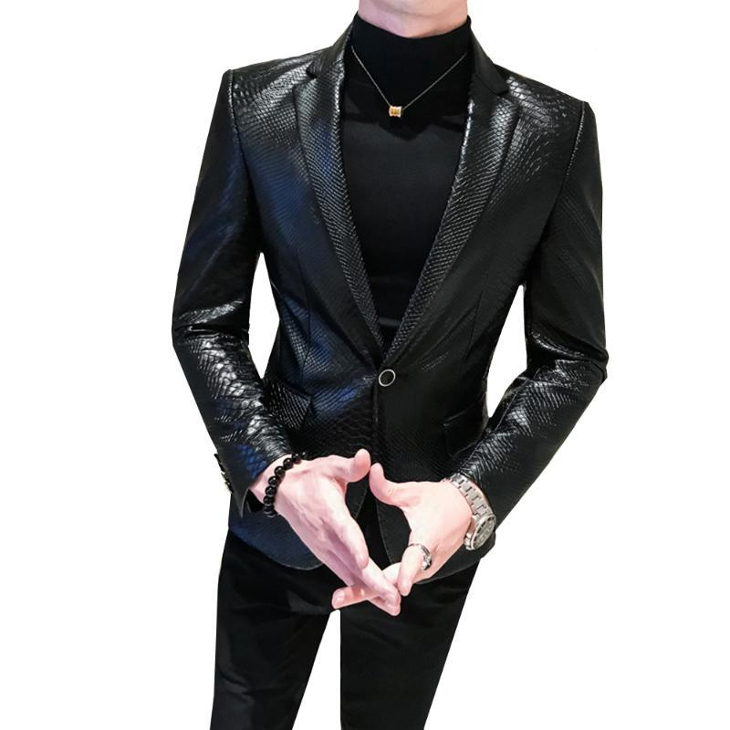 Men's snakeskin tattoo PU Faux Leather Jacket Coat Business Casual Snake Skin Style Slim Suit Blazer Jackets Black Male M-4XL