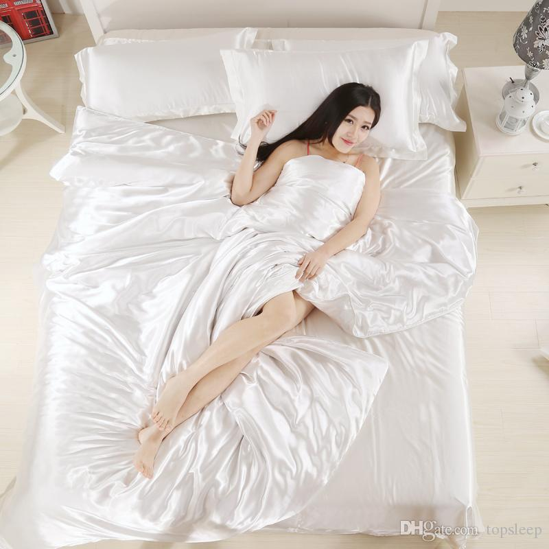 European style silk bedding set king Twin Queen Size Bedding Set Cover Solid white color of Bedspreads 2019 new design