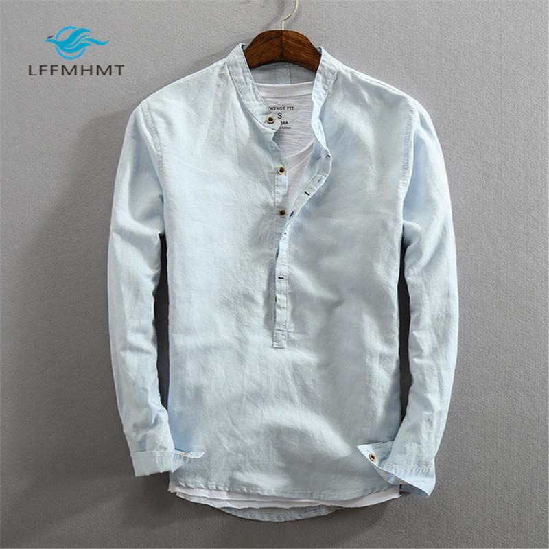 Erkekler İlkbahar Sonbahar Moda Marka Japonya Stili Slim Fit Pamuk Keten Katı Renk Standı Yaka Casual Uzun Kollu Gömlek Kazaklar MX200518