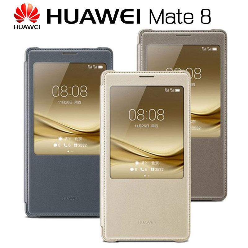venta al por mayor Funda MATE 8 Original, con vista inteligente, ventana completa, tapa, cubierta de cuero, PU Funda para teléfono Funda para Huawei MATE8, 6.0 pulgadas
