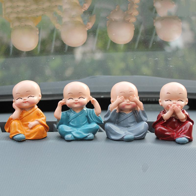4Pcs/Set Lovely Car Interior Accessories Doll Maitreya resin gifts creative little monks Small Ornaments