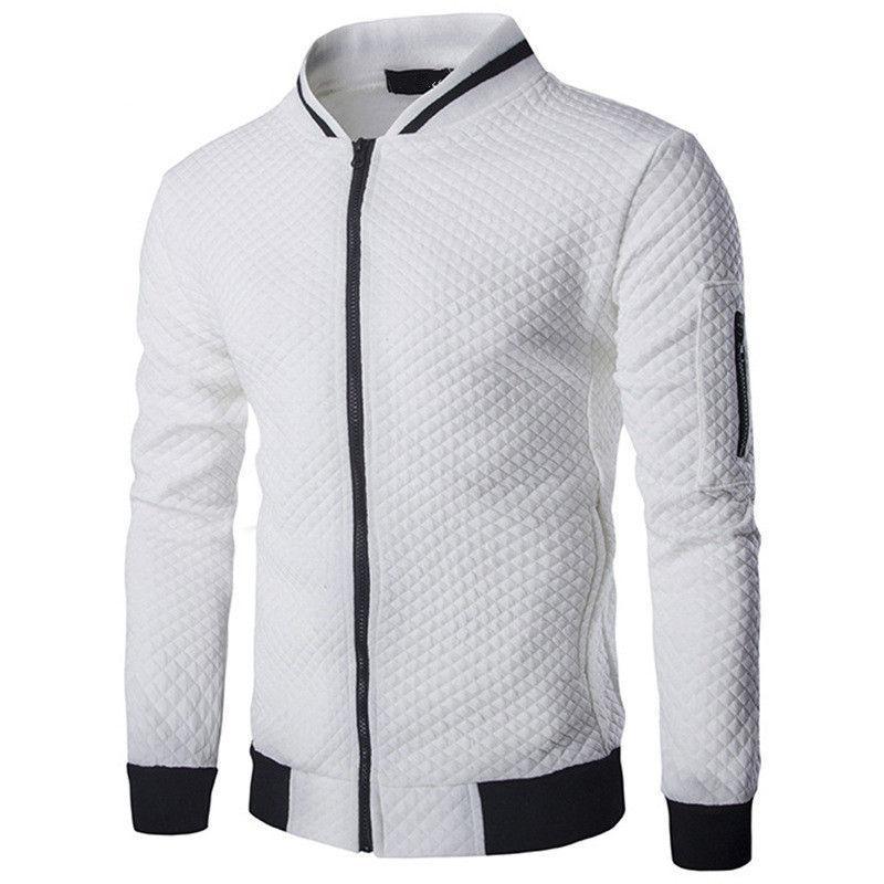 Mens Hoodies 2020 Male Brand Casual Zipper Jacket Stand-Neck Sudaderas Hombre Sweatshirt White Check 3D Plaid Tracksuit XXL