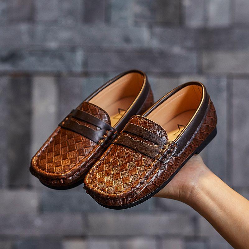PU otoño niños del cuero Calzado para Niños Zapatos Mocasines Moda para niños para chicos, chicas de deslizamiento plana Ocasional En Mocasín